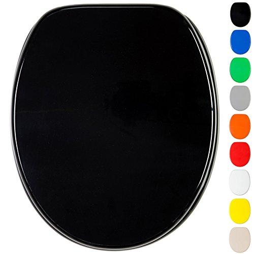 WC Sitz mit Absenkautomatik, viele einfarbige WC Sitze zur Auswahl, hochwertige und stabile Qualität aus Holz (Schwarz)