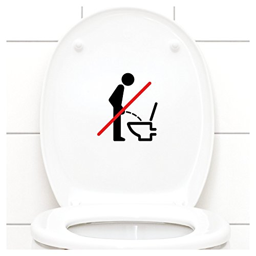 Grandora WC Deckel Sticker - Bitte im Sitzen pinkeln Schild I schwarz 11 x 12 cm I Piktogramm WC Bad Badezimmer Toilette Klodeckel Aufkleber W733