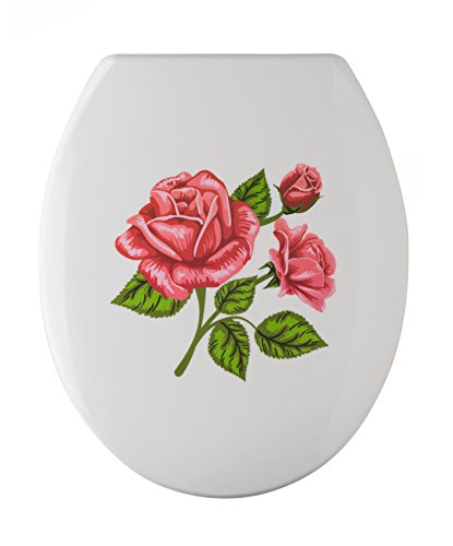 Wenko 76221500 WC-Sitz Rosen-Romantik rostfreie Edelstahl-Befestigung