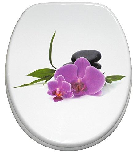 Sanilo WC Sitz mit Absenkautomatik Orchidee   hochwertige Oberfläche   einfache Montage   stabile Scharniere   A497718