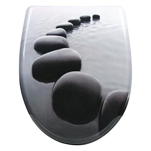 WOLTU #1 WC Deckel mit Absenkautomatik, Duroplast, Fast Fix/Schnellbefestigung, Softclose Scharnier, Antibakteriell, Toilettendeckel (WS2537)