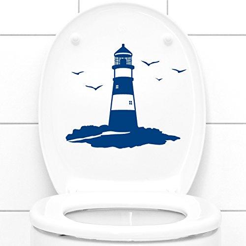 Grandora Wandtattoo WC Deckelaufkleber Leuchtturm I dunkelgrau (BxH) 24 x 21 cm I Badezimmer Bad Toilette Sticker Aufkleber Wandaufkleber Wandsticker W1245