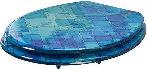 miomare® Hochwertiger WC-Sitz, schwere Qualität aus Polyresin (blau)