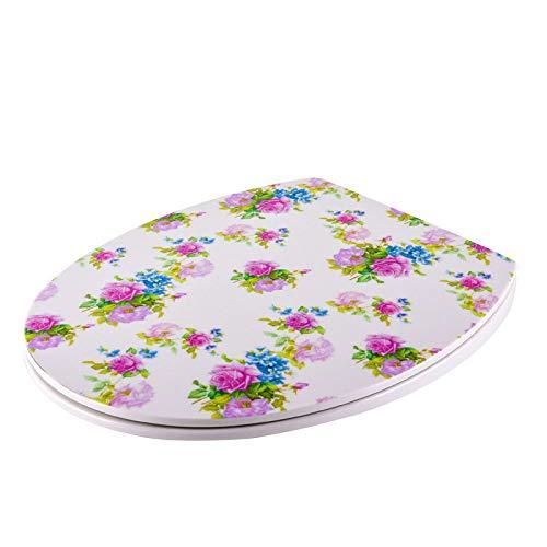 Toilet Lid WC-Deckel, Ultra Dünn Rose Aufkleber O-Form Kompatibel WC-Sitz Drop Mute Antibakterieller, Verstellbarer, Oben Angebrachter Toilettendeckel,OneColor-39.5~43.5 * 37.5cm