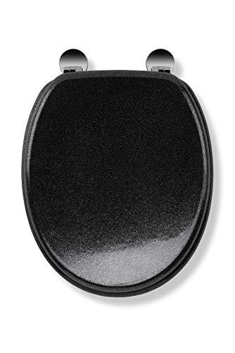 Croydex Flexi-Fix Quarz immer passt nie gleitet WC-Sitz, Holz, schwarz, 44,5x 38x 6cm