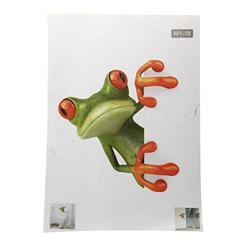 SODIAL(R) Verrueckter Gruener Frosch Badezimmer Toilette Sitz Deckel Abziehbild Sticker