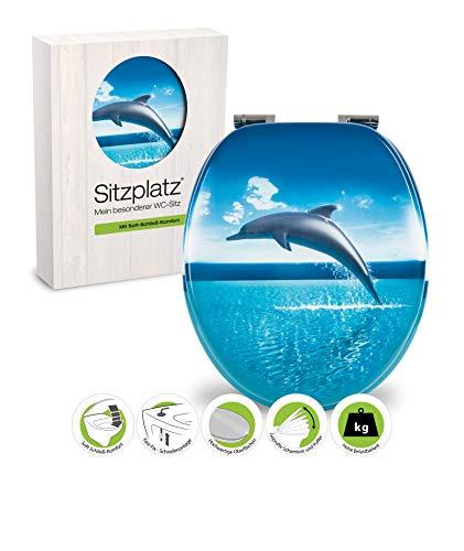 SITZPLATZ - 40272 9 - WC-Sitz Dekor Dolphin Dream - WC Brille mit Absenkautomatik - Toilettensitz mit Holz-Kern & Fast-Fix Schnellbefestigung
