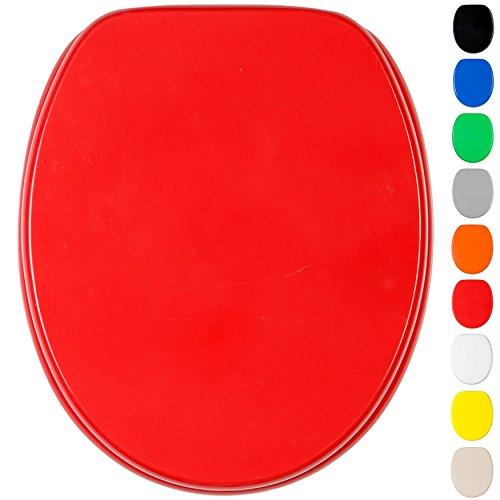 WC Sitz mit Absenkautomatik, viele einfarbige WC Sitze zur Auswahl, hochwertige und stabile Qualität aus Holz (Rot)