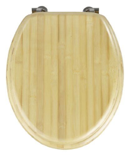 Wenko 144719100 WC-Sitz Bambus Natur - Chrom-Metallbefestigung, Bambus, 37.3 x 44.5 cm, Braun