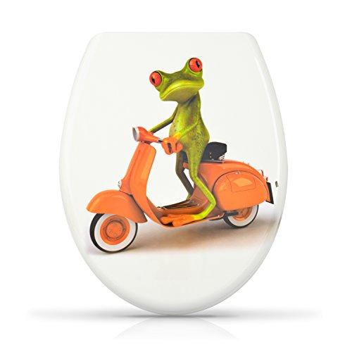 """WC Sitz mit Absenkautomatik -""""Biker Frosch"""" Design - Duroplast Toilettendeckel mit Motiv inkl. Montagesatz - Grinscard"""