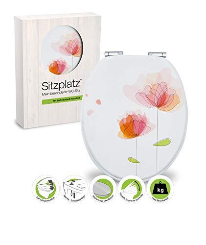 SITZPLATZ - 40269 9 - WC-Sitz Dekor Flora rot - WC Brille mit Absenkautomatik - Toilettensitz mit Holz-Kern & Fast-Fix Schnellbefestigung