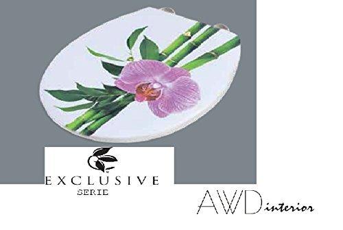 SUCCSALE-Exclusiver Designer WC DECKEL-Toilettendeckel-Modell:CONGA-BAMBUS mit Orchidee mit Absenkautomatik-EASY Click Funktion NEUHEIT -DUROPLAST- Softclose -Maße:43.5x37,3cm AWD02181158