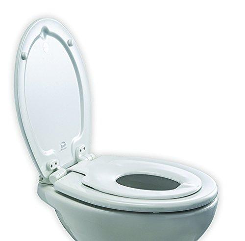 Bemis 4250ELT000 ORLANDO Next Step STA-TITE Formholz/Themoplastik WC-Sitz für Kinder/Erwachsene, mit Absenkautomatik-/SmartLift-Scharnieren aus Kunststoff Weiß 43 x 36.5 x 15.5 centimeters