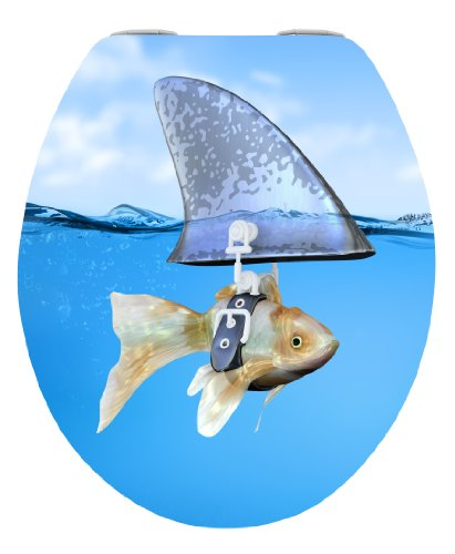 WENKO 21026100 WC-Sitz Hochglanz Acryl Sweet Shark - mit Easy-Close Absenkautomatik, Kunststoff - Acryl, 38 x 45 cm, Mehrfarbig