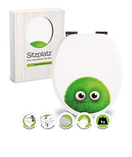 SITZPLATZ 40275 0 - WC Sitz mit Dekor Monster Bobby - WC Brille mit Absenkautomatik - Toilettensitz mit Holz-Kern & Fast-Fix Schnellbefestigung