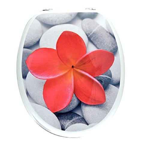 Carpemodo WC Deckel WC Sitz/Scharniere verchromt/Material Holz MDF/edles und modernes Design als Fotodruck/Farbe Weiß Rot/Motiv Red Beauty
