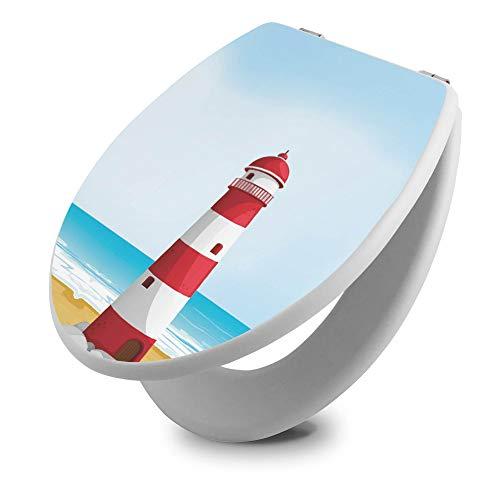 banjado Toilettendeckel Holz   WC Sitz weiß 42cm x 3,5cm x 37cm   Klodeckel aus MDF weiß   Klobrille mit Edelstahl Scharnieren   Toilettensitz mit Motiv Leuchtturm Illustration