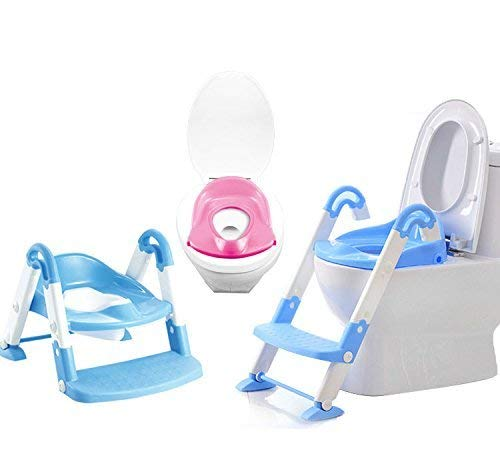 Erwei Toilettentrainer 3 in 1 Kindertoilette Baby-Toilettenleiter Toiletten-Trainer mit Stufen Töpfchen-Trainer Kinder WC Sitz Toilettensitz Kinder (blau)