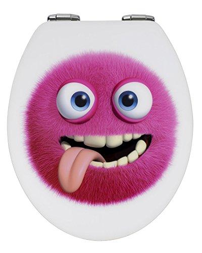 WENKO 21429100 WC-Sitz Hochglanz Acryl Monster - mit Absenkautomatik, Kunststoff - Acryl, 38 x 45 cm, Mehrfarbig