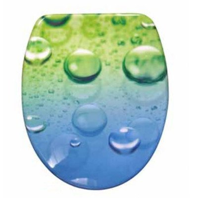 SANWOOD WC-Sitz GOCCIA Toilettensitz Duroplast mit Absenkautomatik Soft Close und Schnellbefestigung Fast Fix Motiv 45 x 37.3 x 5 cm