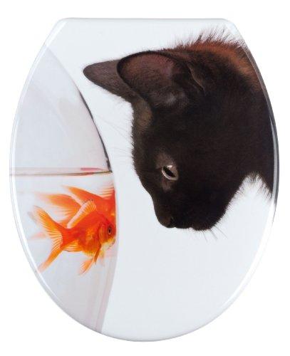 WENKO 20540100 WC-Sitz Fish & Cat - rostfreie Edelstahlbefestigung, Kunststoff - Duroplast, 38 x 45 cm, Mehrfarbig