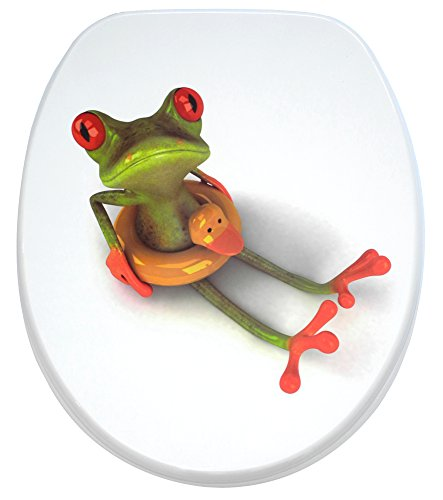 Sanilo WC Sitz mit Absenkautomatik Froggy | hochwertige Oberfläche | einfache Montage | stabile Scharniere   A685009