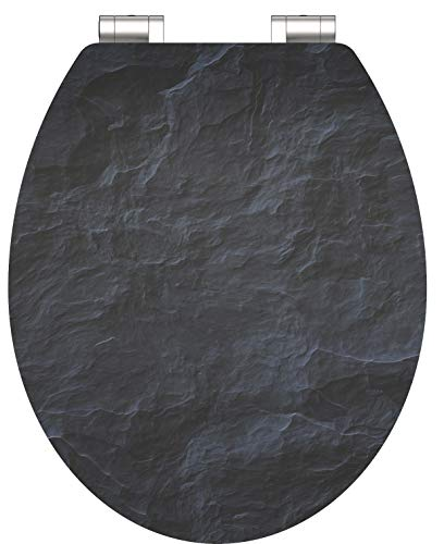 SCHÜTTE 80535 HG MDF-Holzkern High Gloss WC-Sitz BLACK STONE mit Absenkautomatik, Motiv