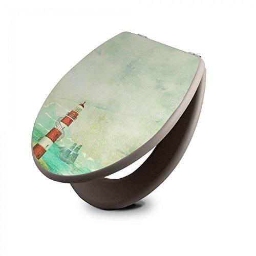 banjado Design Toilettensitz in Taupe   WC-Sitz Holz MDF 42,3x3,5x37,5cm   Klodeckel mit Edelstahl Scharnieren   Toilettendeckel mit Motiv Alter Leuchtturm