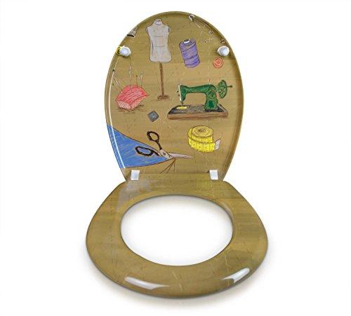 """WC Sitz mit Absenkautomatik -""""Tailor Shop"""" Design - Duroplast Toilettendeckel mit Motiv inkl. Montagesatz - Grinscard"""