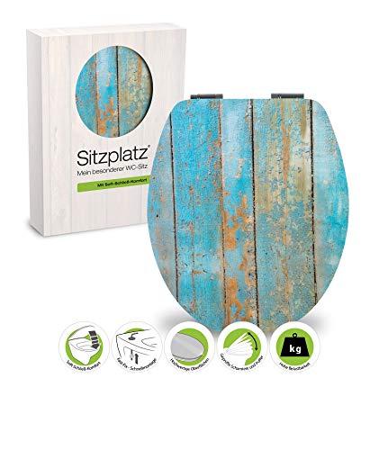WC-Sitz High-Gloss Dekor Treibholz mit Soft-Schließ-Komfort und Fast Fix