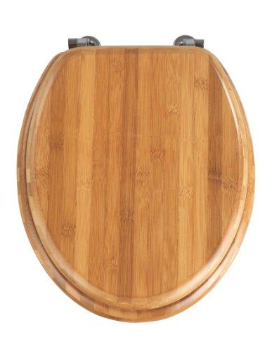 Wenko 144726100 WC-Sitz Bambus Dunkel, Toilettendeckel, chrom-Metallbefestigung, Bambus, 34.5 x 41.5 cm, Dunkelbraun
