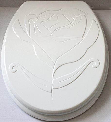 WC Sitz Toilettendeckel weiss Rose Holzkern