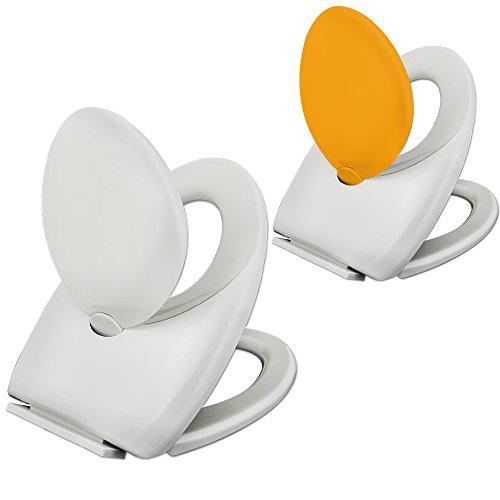 Toilettensitz Kinder Kindertoilettensitz WC-Sitz Toilettendeckel Deckel Familie Klobrille mit Absenkautomatik und integriertem Kindersitz Gelb