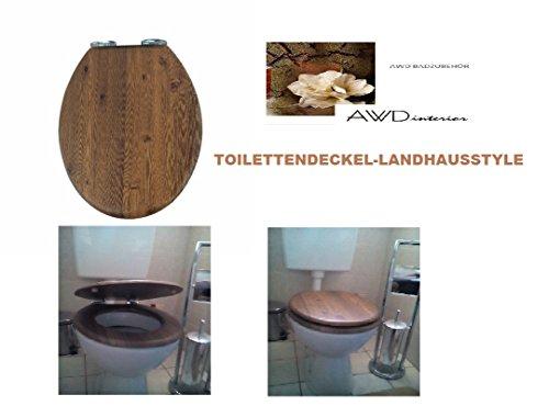 Exclusiver Designer WC DECKEL-Landhausoptik-Toilettendeckel-EICHE Rustikal OPTIK mit Absenkautomatik -MDF -Maße:43.5x37,3cm AWD02181065