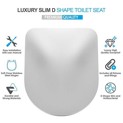 Luxuriöser WC-Sitz, schmal, D-Form, antibakteriell, Weiß, sanfter Schließmechanismus, schnelle Befestigung, verstellbare Edelstahl-Scharniere