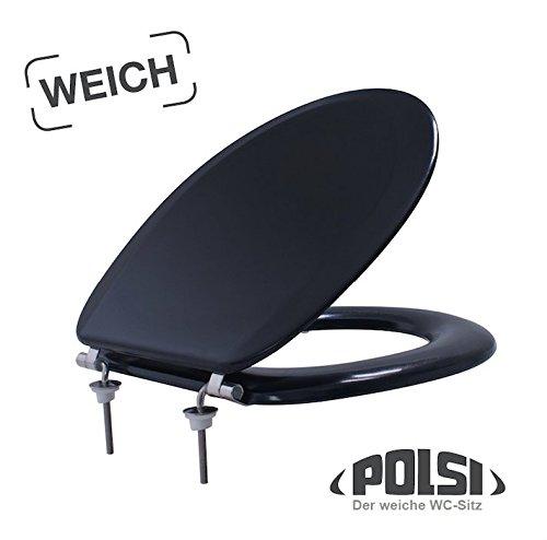 Gepolsteter WC-Sitz POLSI Super Soft schwarz DAS Original mit Edelstahlscharnieren ! Ringsitz black