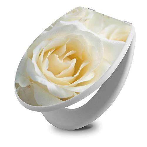 banjado Toilettendeckel Holz   WC Sitz weiß 42cm x 3,5cm x 37cm   Klodeckel aus MDF weiß   Klobrille mit Edelstahl Scharnieren   Toilettensitz mit Motiv White Roses