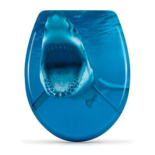 """WC Sitz mit Absenkautomatik -""""Shark Attack"""" Design - Duroplast Toilettendeckel mit Motiv inkl. Montagesatz - Grinscard"""