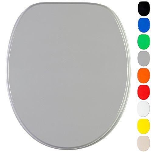 WC Sitz mit Absenkautomatik, viele einfarbige WC Sitze zur Auswahl, hochwertige und stabile Qualität aus Holz (Grau)