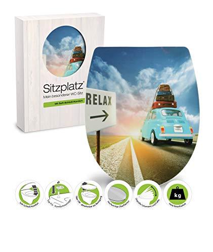 SITZPLATZ - 40391 7 - WC-Sitz Daytrip - Hochwertiger Toilettensitz aus Duroplast - WC Brille mit Absenkautomatik & Take-Off Funktion & Fast -Fix-Befestigung