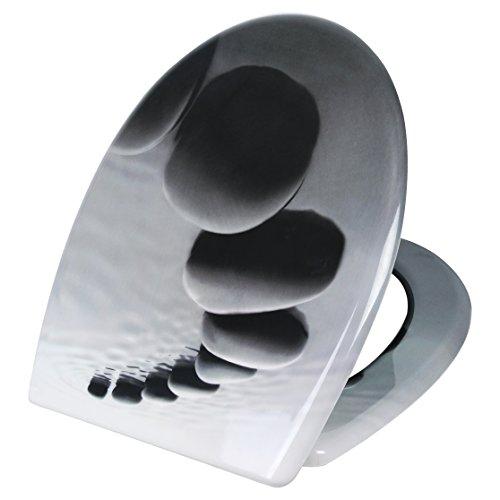 Toilettensitz WC-Sitz mit Absenkautomatik, Duroplast, rostfreie Edelstahl Klappdübel, Fast Fix/Schnellbefestigung, softclose Scharnier, Stein WS2537