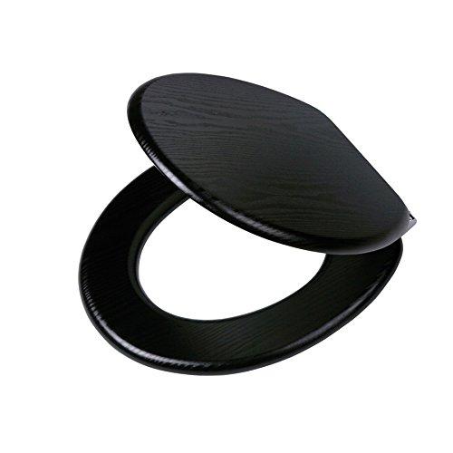 Tiger Toilettensitz Blackwash in Holzoptik mit Absenkautomatik, Farbe: Schwarz, Metallbefestigung