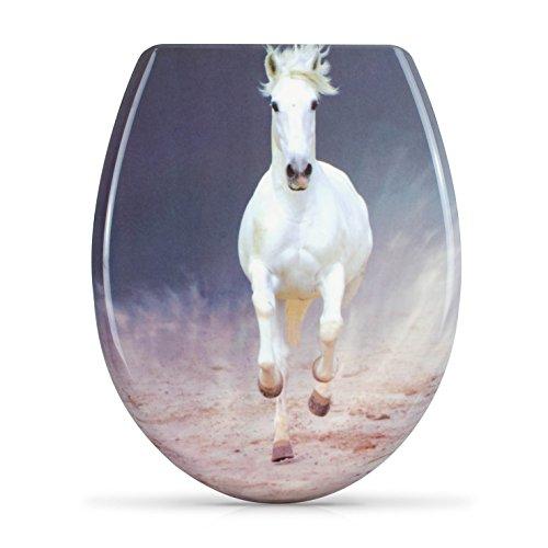 """WC Sitz mit Absenkautomatik -""""White Horse"""" Design - Duroplast Toilettendeckel mit Motiv inkl. Montagesatz - Grinscard"""