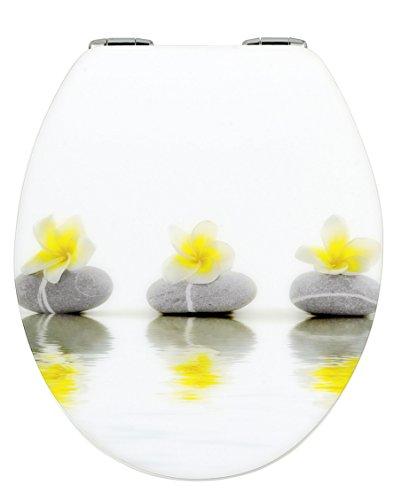 WENKO 20813100 WC-Sitz Hochglanz Acryl Stones with Flower - mit Absenkautomatik, Kunststoff - Acryl, 38 x 45 cm, Mehrfarbig