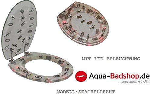 DESIGNER LED KLOBRILLE-WC DECKEL-TOILETTENSITZ mit LED- und Motiv:Stacheldraht-Transparent-NEU