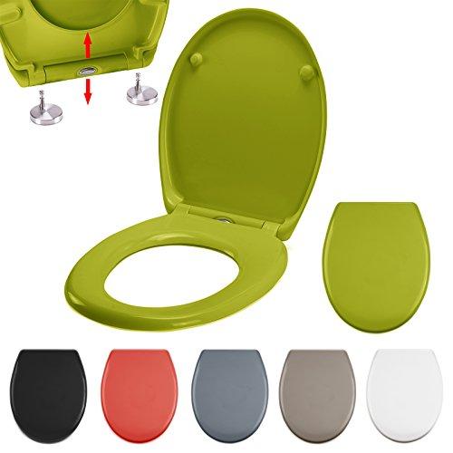 MSV WC Sitz Toilettendeckel Duroplast mit Absenkautomatik und auf Knopfdruck abnehmbar zur Reinigung in Grün – Easy Fix Clip System