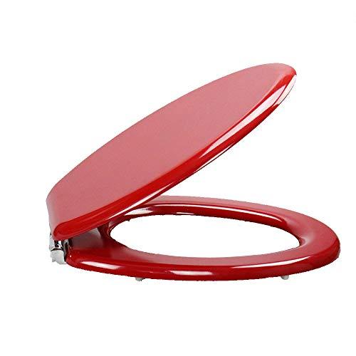 S-graceful WC-Sitze Rot Toilettendeckel Mit Ultra-beständigem Oberteil Fest Verdickt V-Form Universal WC-Sitzbezug Aus Massivem Holz Für Familiengebrauch,Red-42.5~47.5CM*37CM