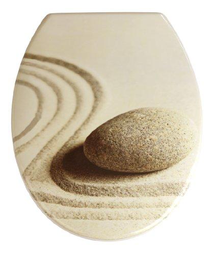 Wenko 19651100 WC-Sitz Sand and Stone - rostfreie Edelstahlbefestigung, Kunststoff - Duroplast, 38 x 45 cm, mehrfarbig