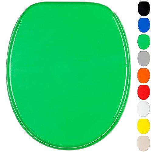 WC Sitz mit Absenkautomatik, viele einfarbige WC Sitze zur Auswahl, hochwertige und stabile Qualität aus Holz (Grün)