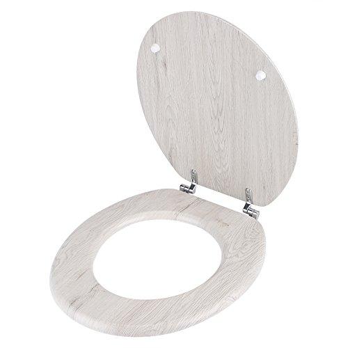 Estink Toilettendeckel, Runder Toilettensitz WC Sitz inkl. Scharnieren und Montagesatz, Universal, 14.57 x 3.35 x 19.29 Zoll(Holz)